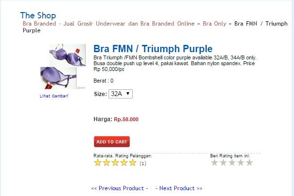 BH Triumph tiruan harga Rp. 50.000. © Solidaritas / Screenshot brabranded.com.