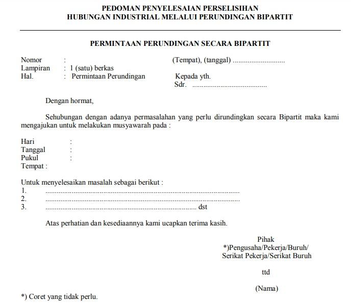 surat pengajuan bipartit contoh
